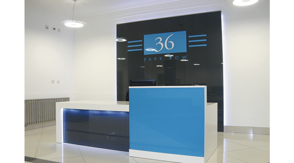 Park Row Offices Reception Graphics by Digital Plus