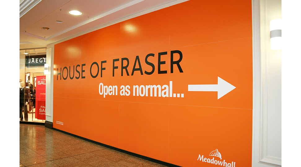 Meadowhall House of Fraser Graphics by Digital Plus