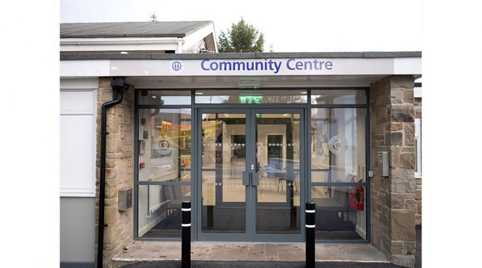community centre entrance signage