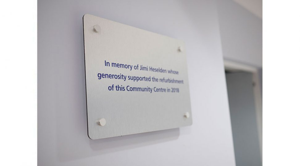 in memory of plaque for building